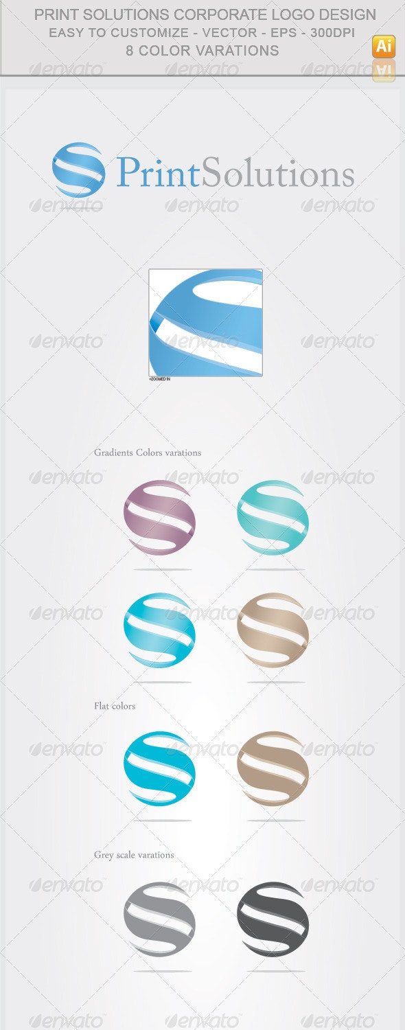 Print Solutions Corporate Logo Design - Abstract Logo Templates