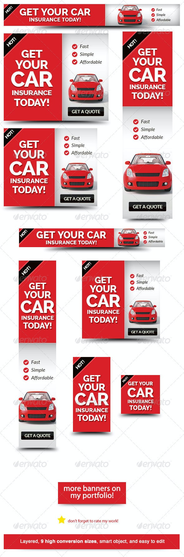 Cheap Car Insurance Web Banner Ad - Banners & Ads Web Elements