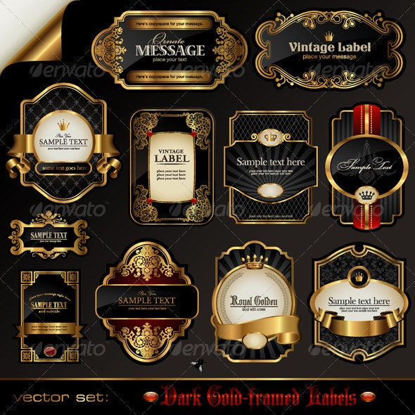 Dark Gold-Framed Labels - Decorative Vectors