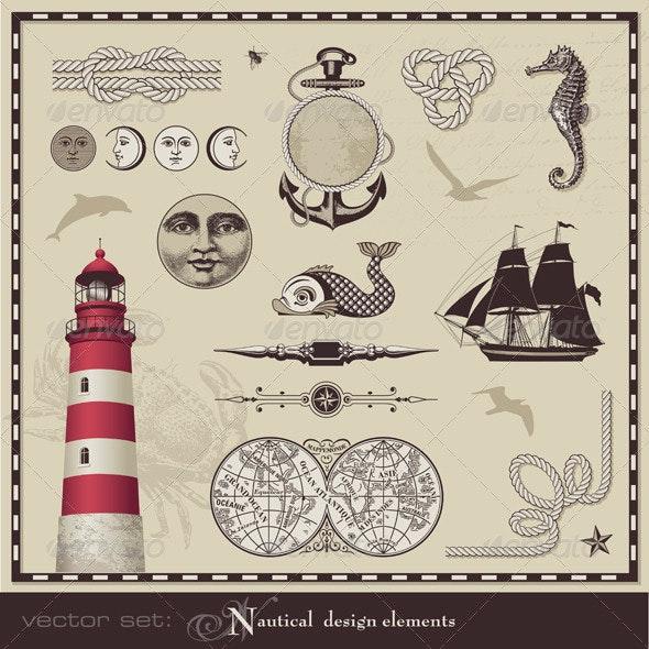Vintage Nautical Design Elements - Travel Conceptual
