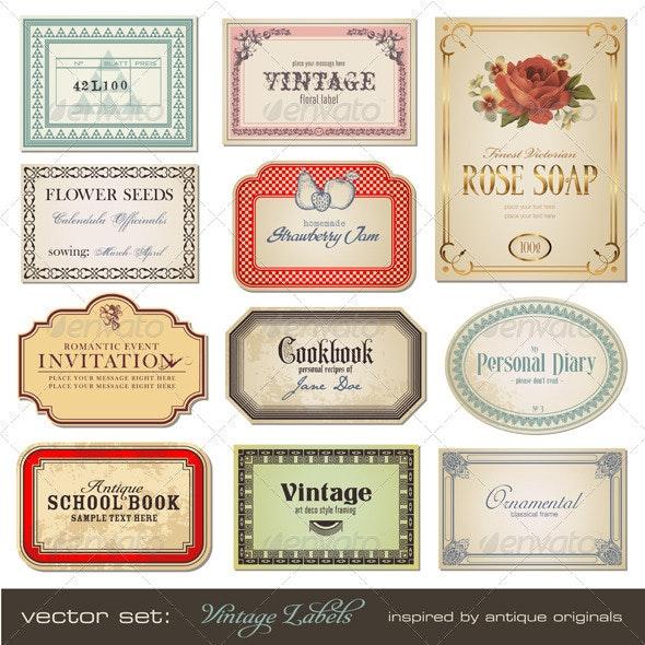 Vintage Labels (Set 1) - Decorative Vectors