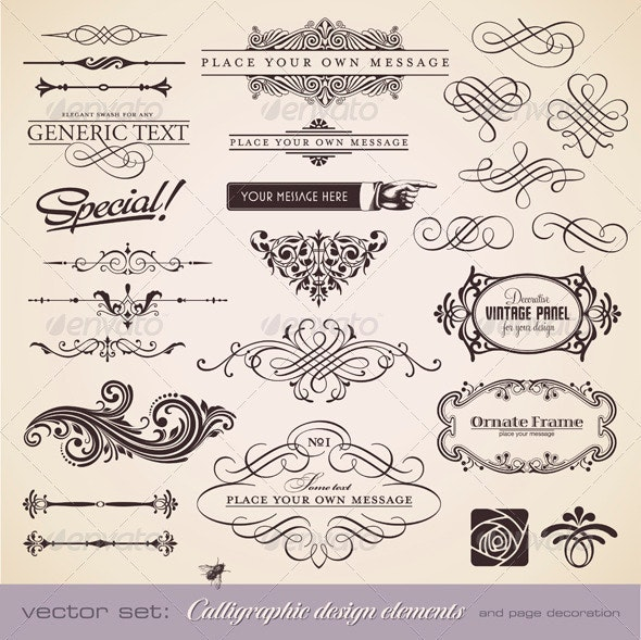 Calligraphic Design Elements and Page Decoration 2 - Decorative Vectors