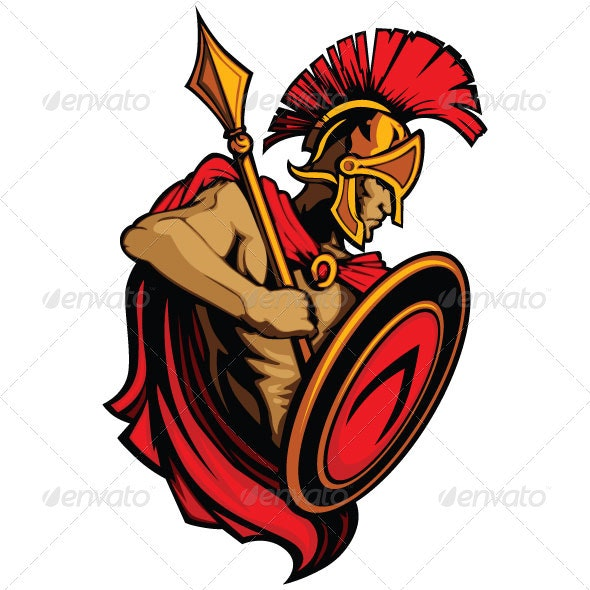 Spartan Trojan Vector Mascot with Spear and Shield - People Characters