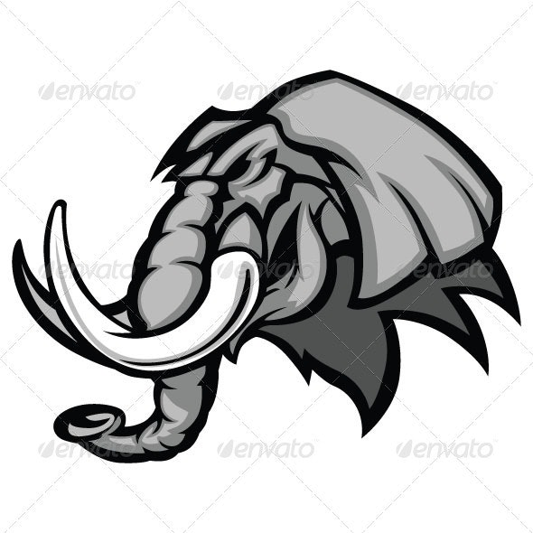 Elephant Mascot Head Vector Graphic - Animals Characters
