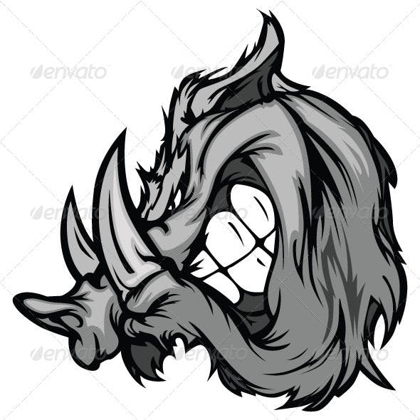 Boar Razorback Cartoon Face Vector Illustration