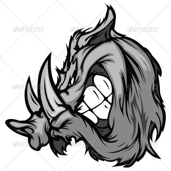 Boar Razorback Cartoon Face Vector Illustration - Animals Characters