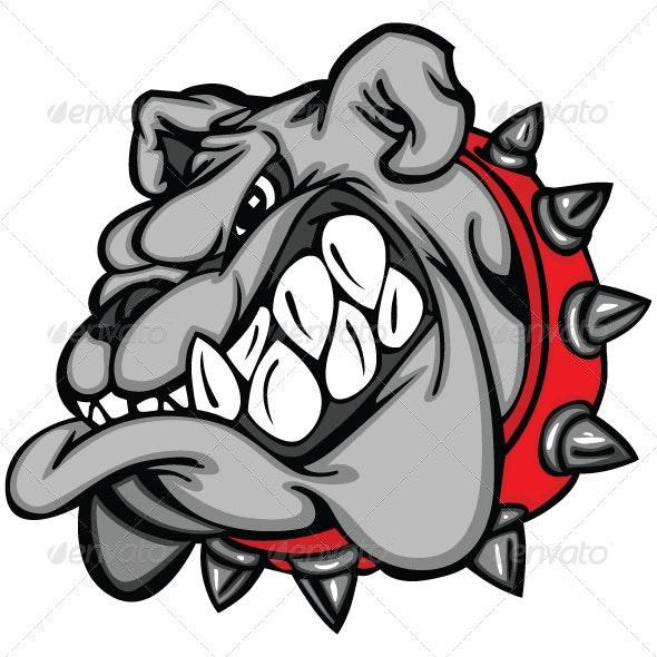 Bulldog Cartoon Face Vector Illustration - Animals Characters