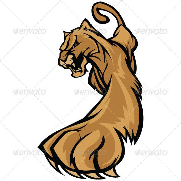 Cougar Mascot Body Prowling Vector Graphic