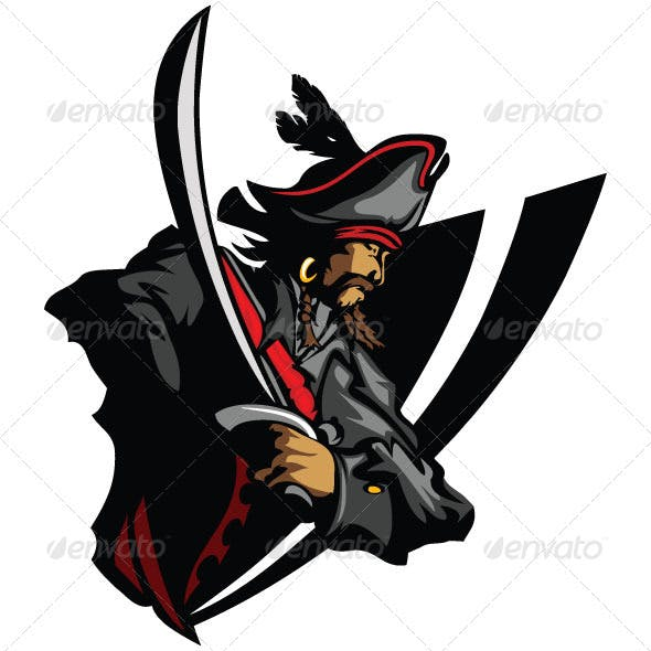 Pirate Mascot with Sword and Hat Graphic Vector