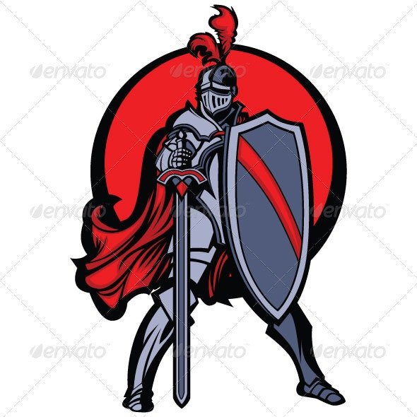 Knight Mascot with Sword and Shield Vector Image - People Characters