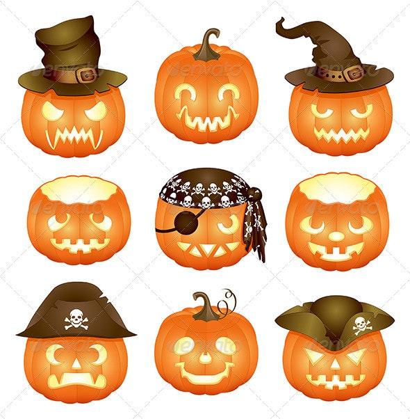 Set of Halloween pumpkins  - Halloween Seasons/Holidays