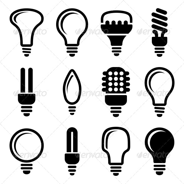 Light Bulbs Icon Set - Technology Icons