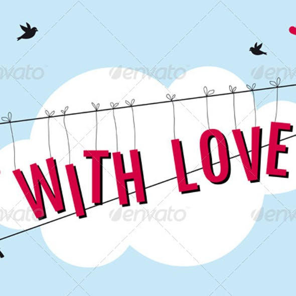 Birds on Wire with Love in Blue Sky