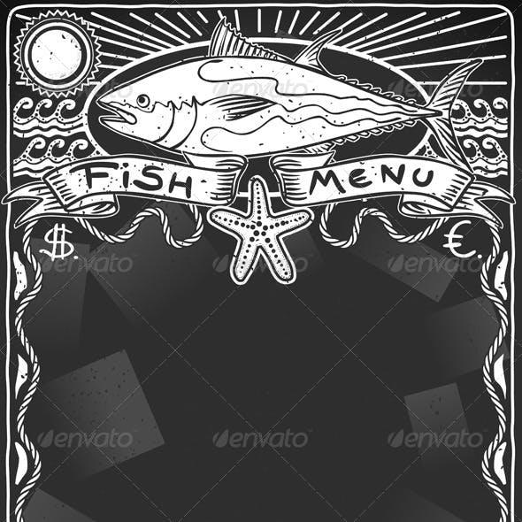 Vintage Graphic Blackboard for Fish Menu