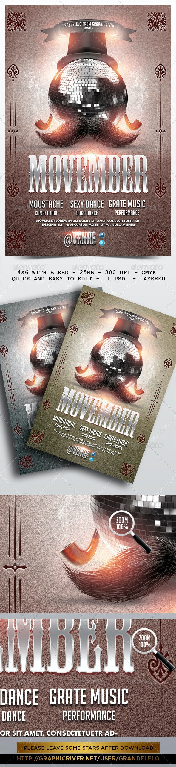 Movember Flyer Template 2.0 - Holidays Events