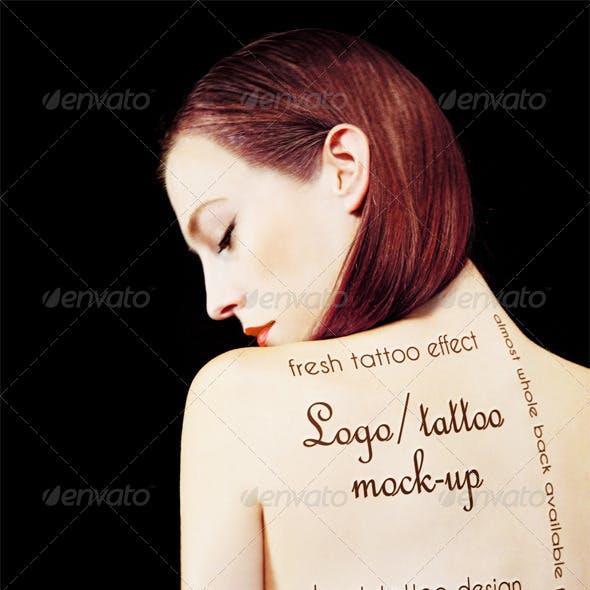 Logo / Tattoo Mock-Up - Printed on Girl's Back