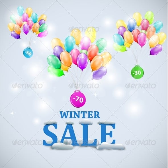 Winter Sale with Colorful Ballons