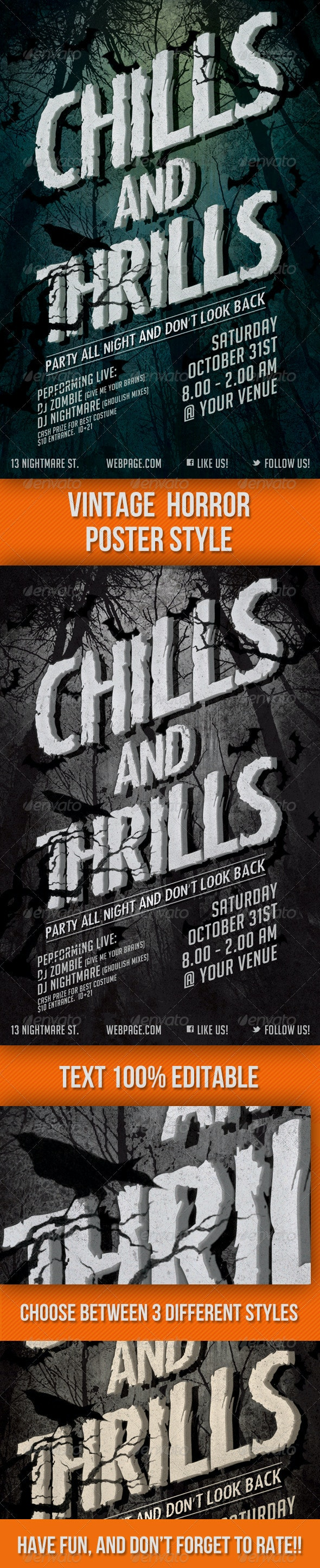 Chills and Thrills Halloween Party Flyer - Clubs & Parties Events