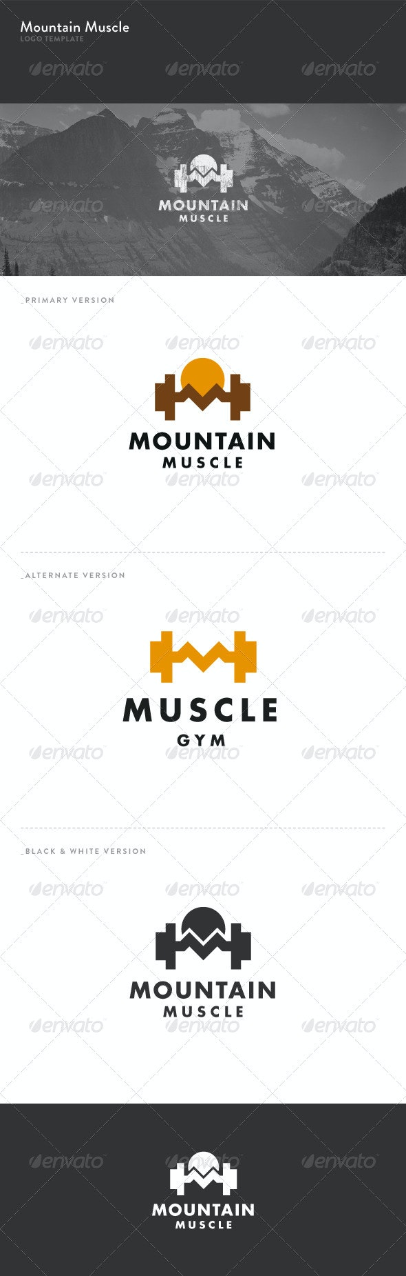 Mountain Muscle Logo - Objects Logo Templates