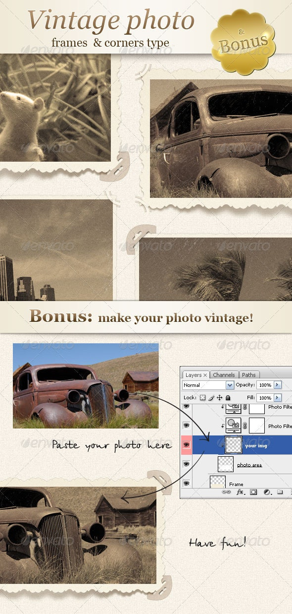 Vintage Photo - Frames and Corners Type - Miscellaneous Photo Templates
