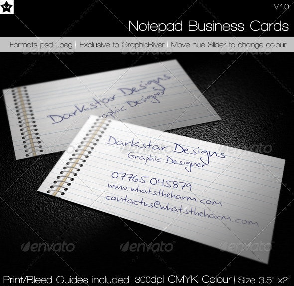 Notepad Business Card - Real Objects Business Cards