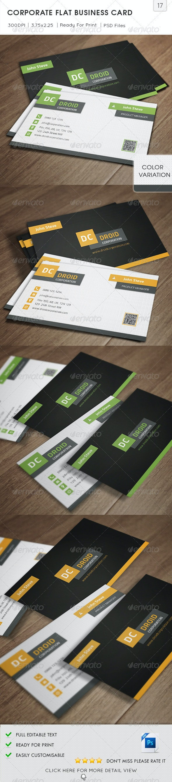Corporate Flat Business Card v17 - Corporate Business Cards