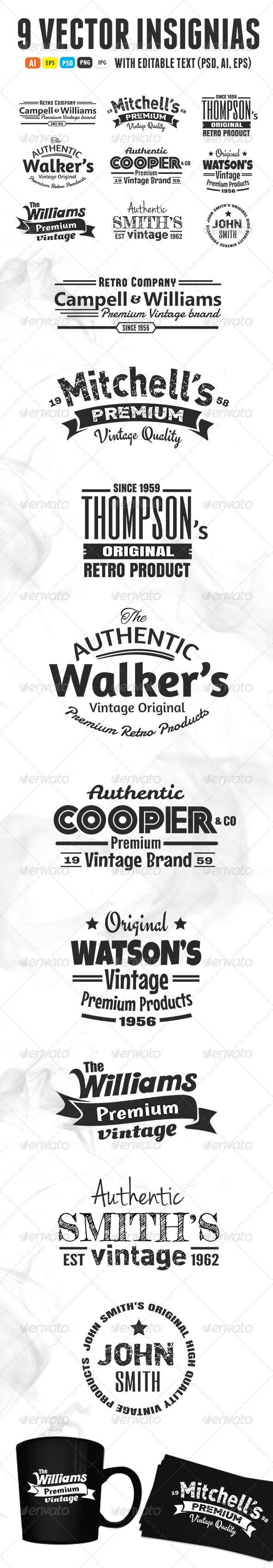 9 Vintage Insignias - Badges & Stickers Web Elements