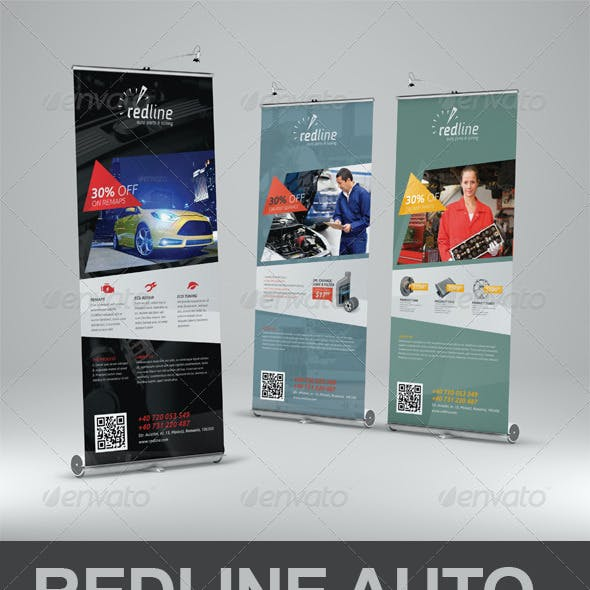 Redline Auto Roll-Up Banner