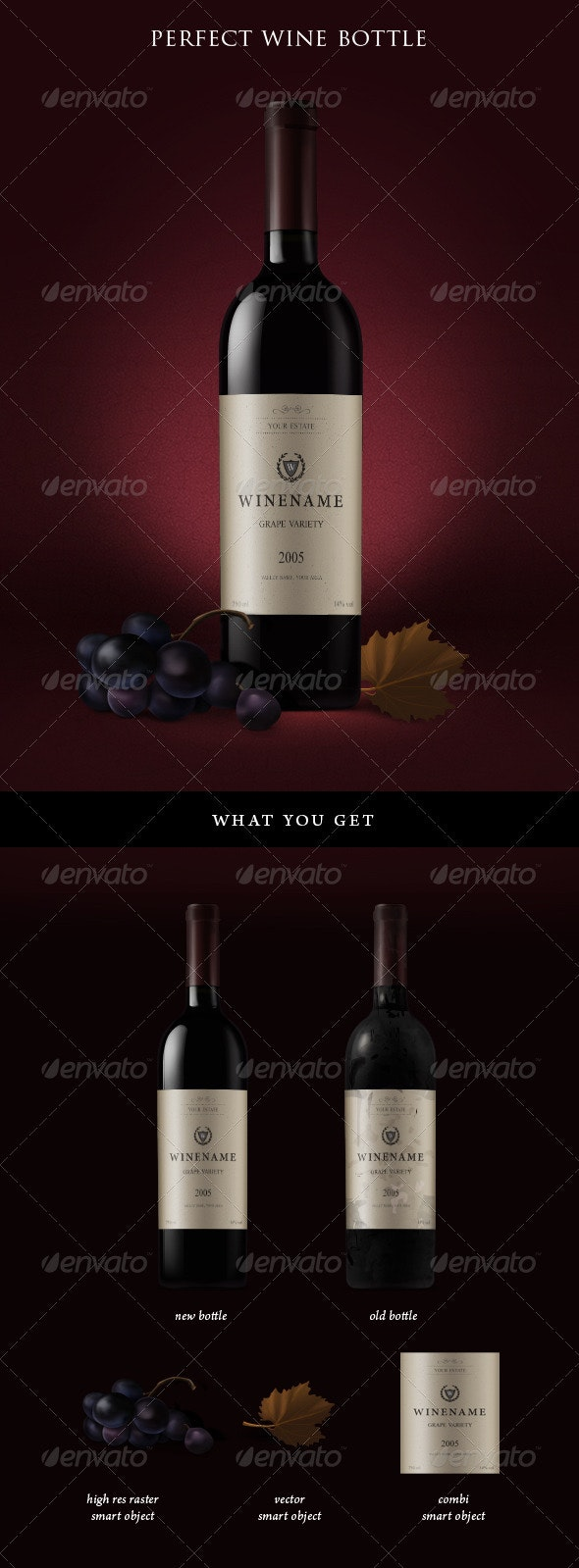 Red Wine Bottles and Grapes - Food and Drink Packaging