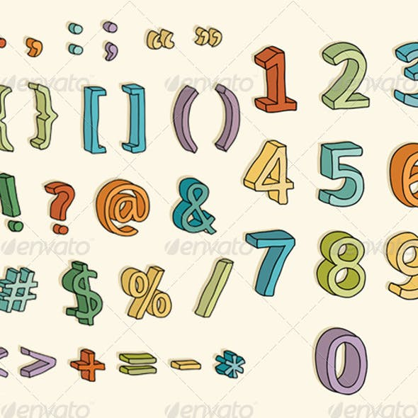 Coloful 3D Numbers and Symbols