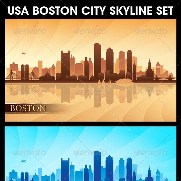 Boston USA City Skyline Silhouettes Set