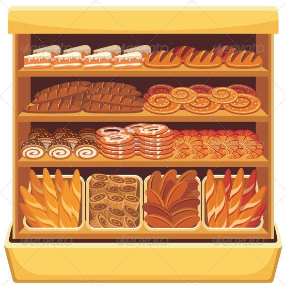 Supermarket Bread Showcase