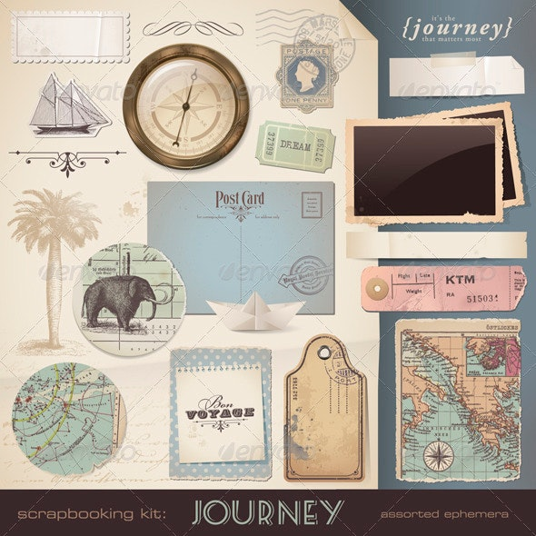 Digital Scrapbooking Kit: Travel and Vacation - Man-made Objects Objects
