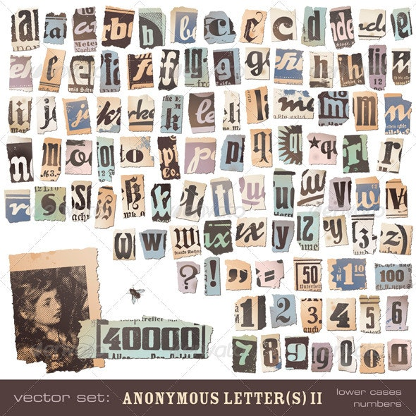 Anonymous Letter(s) - Lower Cases and Numbers  - Decorative Symbols Decorative