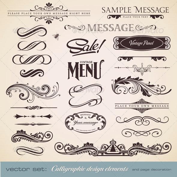 Calligraphic Design Elements and Page Decoration 3 - Decorative Vectors