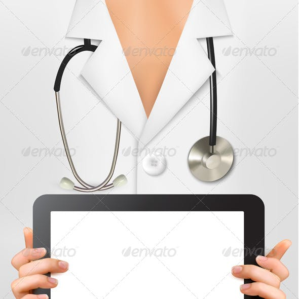 Doctor with Stethoscope Holding Digital Tablet