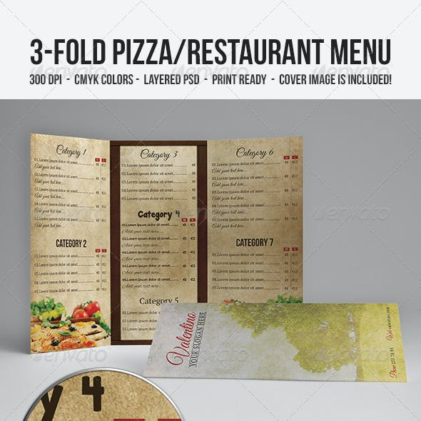 3-Fold Pizza/Restaurant Menu
