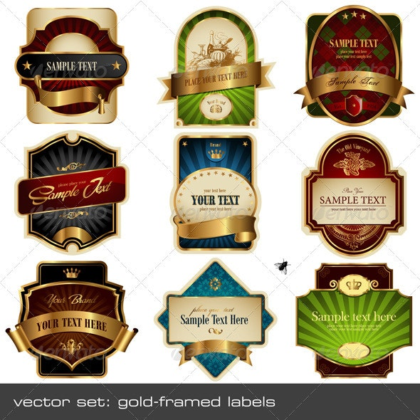 Gold-Framed Labels - Decorative Vectors