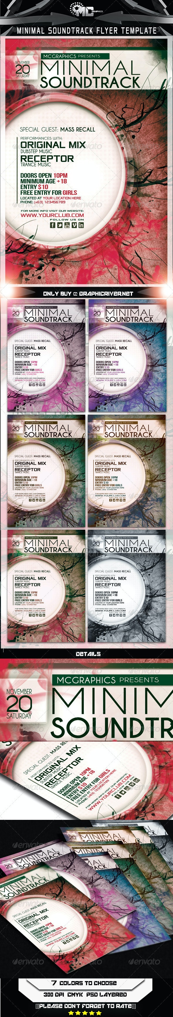 Minimal Soundtrack Flyer Template - Events Flyers