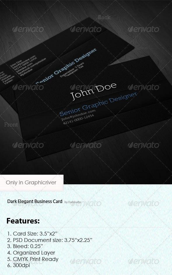Dark Elegant Business Card - Corporate Business Cards