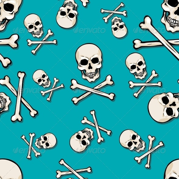 Vector Seamless Pattern with Skulls and Bones - Abstract Conceptual