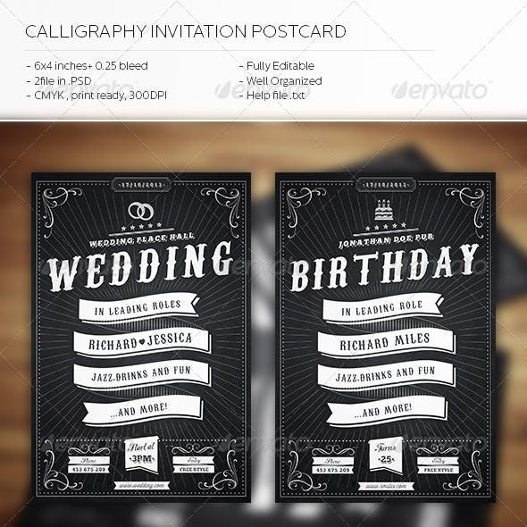 Calligraphy Invitation Postcard