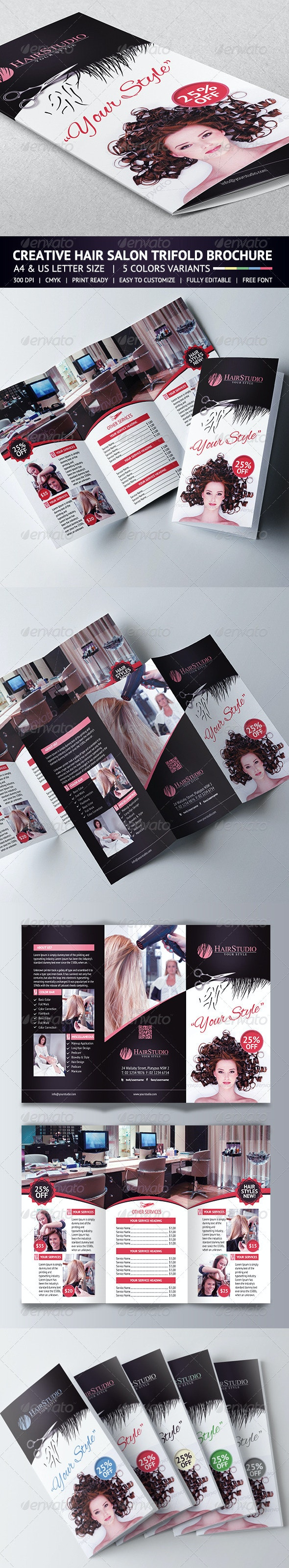 Hair Salon Trifold Brochure - Corporate Brochures
