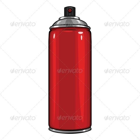 Vector Cartoon Aerosol Sprays with Red Paint