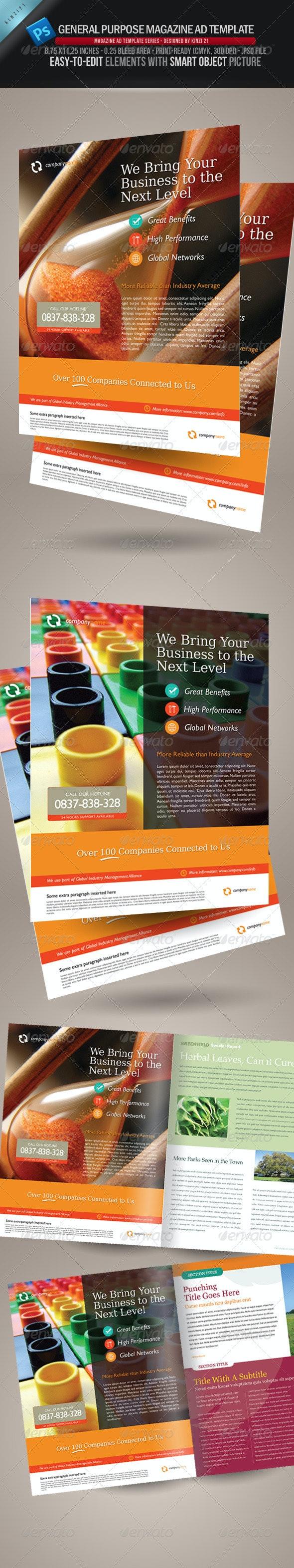 General Purpose Magazine Ad Template - Magazines Print Templates