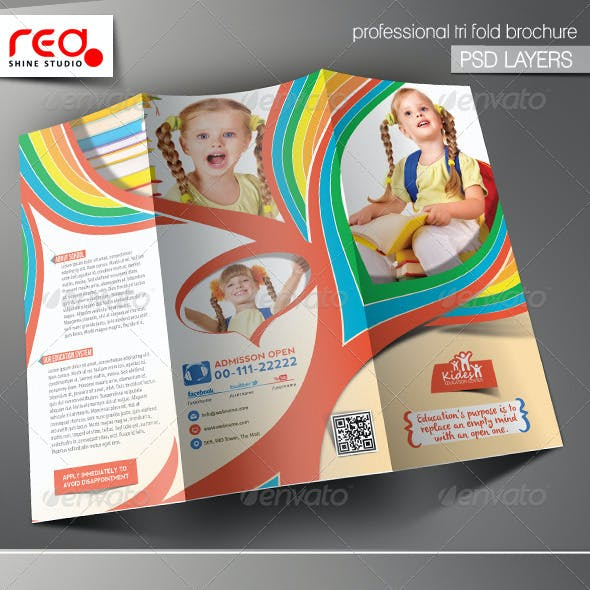Kid's School Promotion Trifold Brochure Template