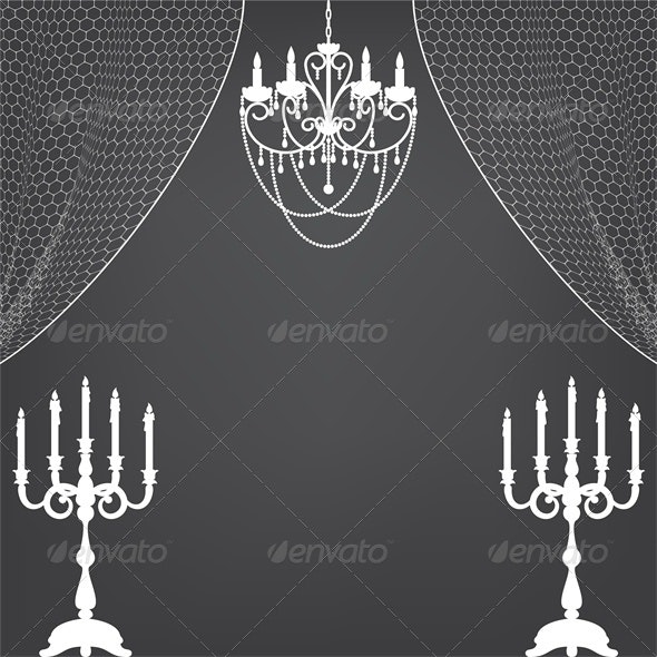 Vintage Interior with Candlestick and Chandelier - Man-made Objects Objects