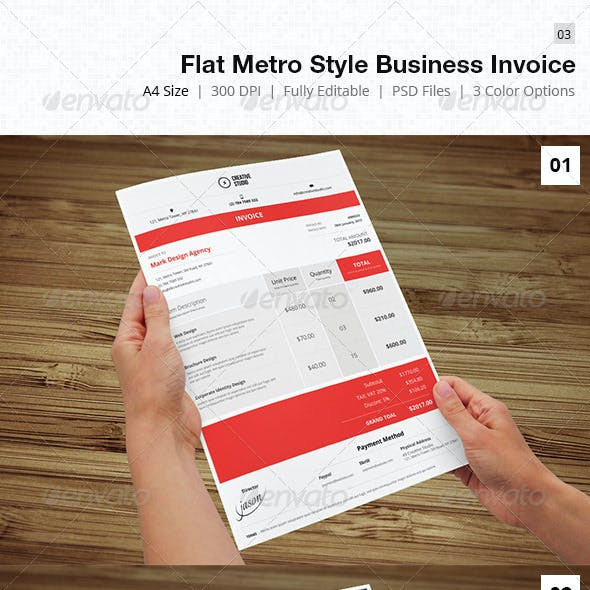 Flat & Metro Style Business Invoice - 03
