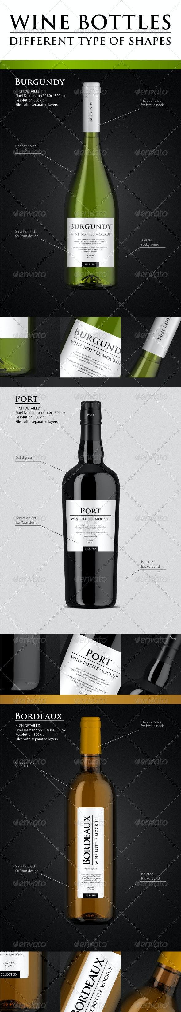 High Detailed Wine Bottle Mock-up - Food and Drink Packaging