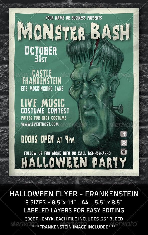 Halloween Flyer Frankenstein Monster - Holidays Events